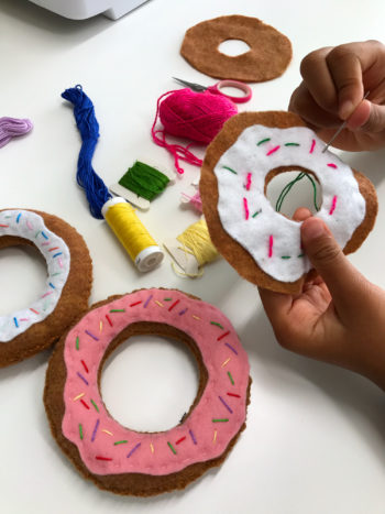 felt food donut sewing class for kids at the sewing coop