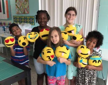 emoji softie class at the sewing coop