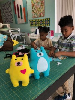 warren the bear softie kids sewing class at the sewing coop
