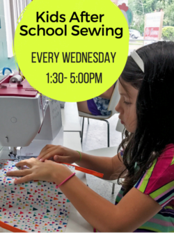 kids after school at the sewing coop