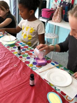 kids soapmaking class at the sewing coop