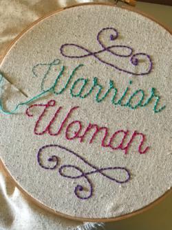 warrior woman hoop art class at the sewing coop